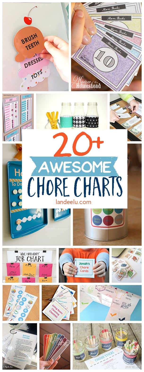 Tons of awesome chore charts to find the one that will work for you and your family!! Tons of FREE Printables and DIY Tutorials Galore!