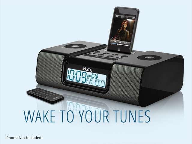 ihome dual alarm clock radio for ipoddock neweggflash. Black Bedroom Furniture Sets. Home Design Ideas