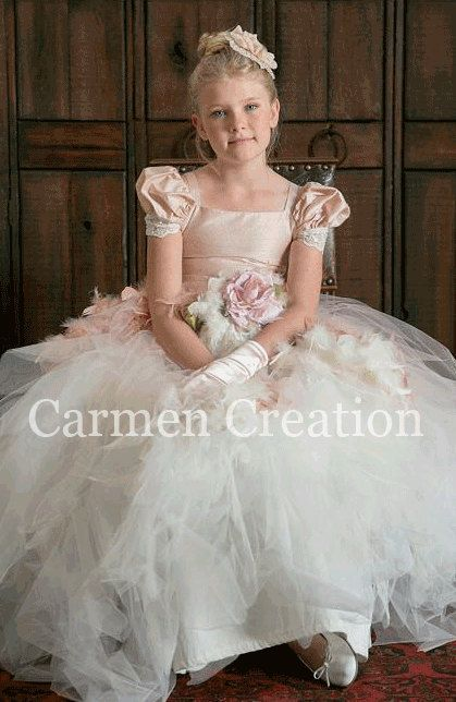 Beautiful Flower Girl Dress Blush by CarmenCreation on Etsy, $115.00