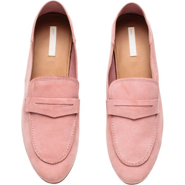 Suede Loafers $49.99 ($50) ❤ liked on Polyvore featuring shoes, loafers, h&m, slip on loafers, suede slip on shoes, pull on shoes, slip-on loafers and pink shoes