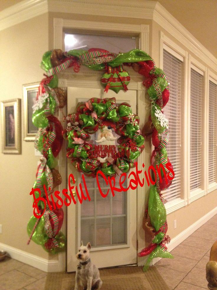 Whimsical Christmas door swag garland and 24