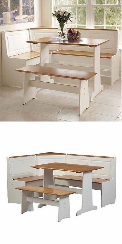 dining sets 107578 3 pc white wood top breakfast nook dining set rh pinterest com