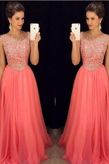 2017 Custom Made Hot Pink Prom Dress,Chiffon Evening