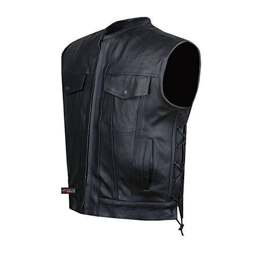 Special Offers - SOA Motorcycle Sons of Anarchy ARMOR Leather Open Collar Leather Biker Vest XL - In stock & Free Shipping. You can save more money! Check It (December 05 2016 at 06:02AM) >> http://motorcyclejacketusa.net/soa-motorcycle-sons-of-anarchy-armor-leather-open-collar-leather-biker-vest-xl/