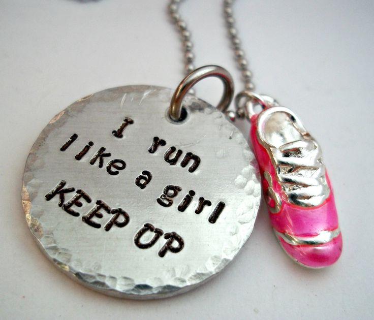 Running Jewelry Runner Run I Run Like a Girl by StampedbyShaye