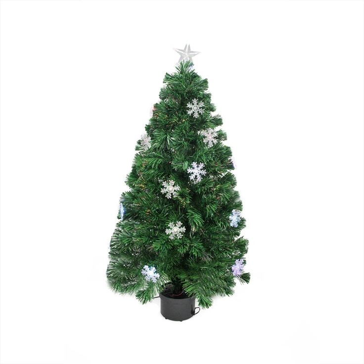 3' Pre-Lit Color Changing Fiber Optic Christmas Tree with Snowflakes, Purple