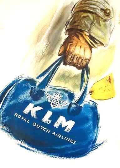 "Painted by Joop H. van Heusden. Mine is hanging at the top of my entry stairs in a magnificent Dark drlft blue frame.  It is huge and impressive! ""KLM Royal Dutch Airlines Travel Poster, 1950s"""
