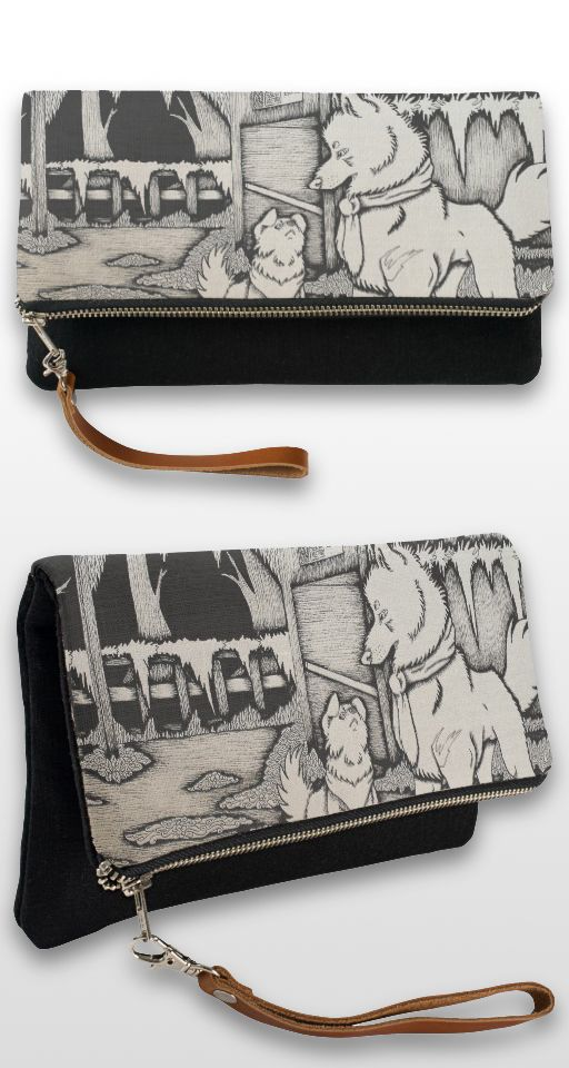 """In Early December"" Black and white illustrated dog and wolf couple Clutch bag"