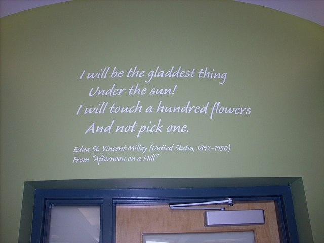 """From """"Afternoon on a Hill""""  Poetry installation at Brookfield Public Library"""