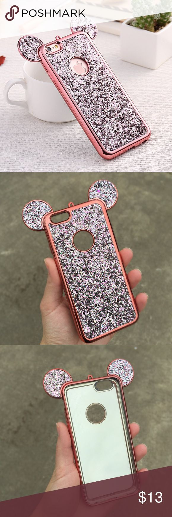 ❤︎ Mickey Ears Rose Gold Bling Glitter iPhone Case This listing is for a gorgeous rose gold glitter Mickey ear iPhone case. Available for iPhone 6/6s, iPhone 6/6s plus, iPhone 7, and iPhone 7 plus. Cases are made out of soft plastic so is lightweight and flexible. Check my other listings for more colors.  Accessories Phone Cases