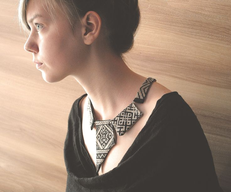 hand-painted linen necklace. slavic patterns