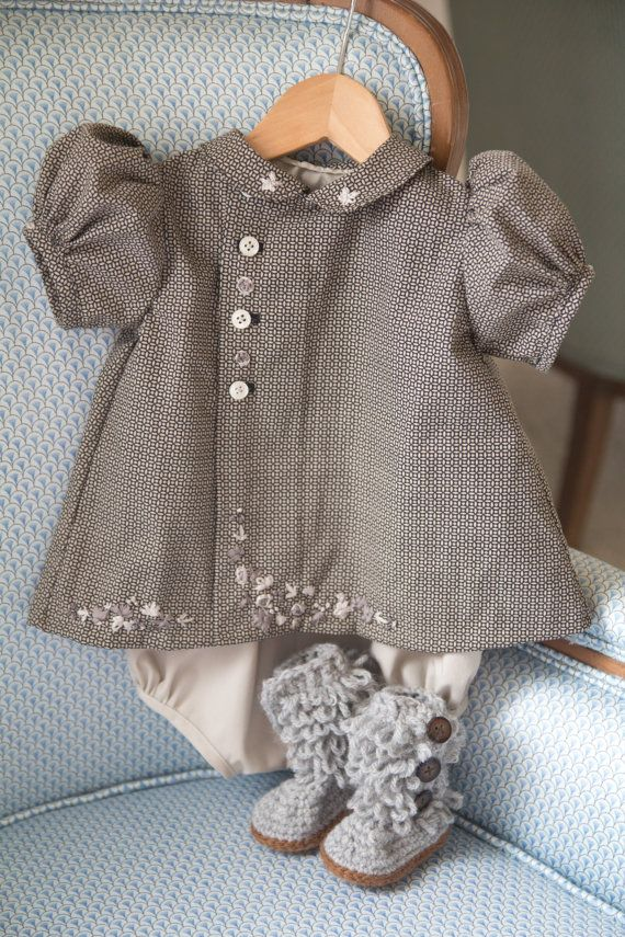 0-3 month Gray Diaper shirt, bubble & boots