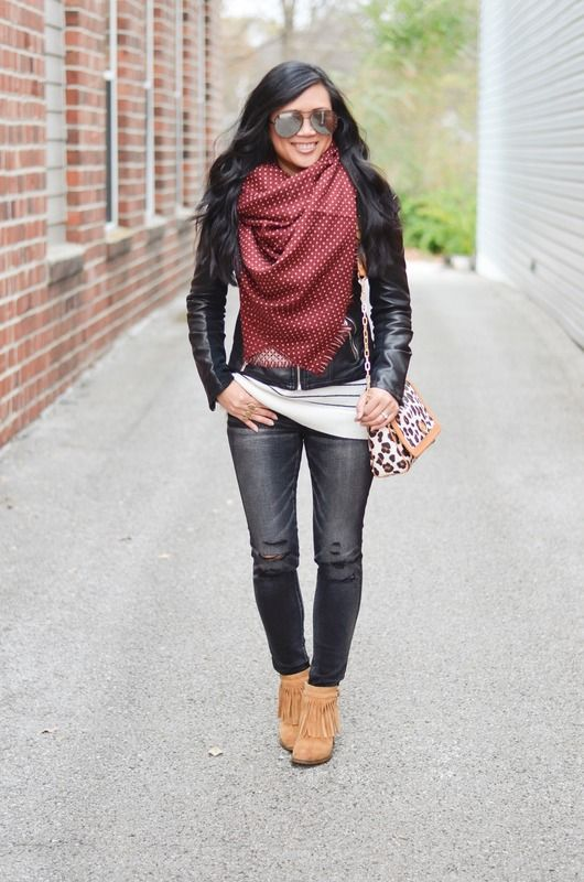 Express minus the leather moto jacket, papderdolls boutique dotted blanket scarf, American Eagle jeggings, Naturalizer Fortunate booties