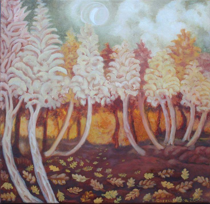"""Forest; Obraz olejny na płótnie. Tytuł: """"Las cichy i przychylny"""".  Wymiary: 40 x 40 cm.  Pejzaż leśny w jesiennych barwach.  Boki zamalowane na kolor pudrowy róż, na lewym boku praca dokładnie opisana.   Obraz malowany w całości pędzlami Renesans (typ pędzla: koci język).   Za Ignacym Witzem cytuję słowa, które śmiało mogłabym odnieść do własnej twórczości:   """"Żywię niegasnący kult pędzla, jedynego prawdziwego narzędzia malarskiego.W rezultacie uważany jestem niekiedy za dziwaka przez tych…"""