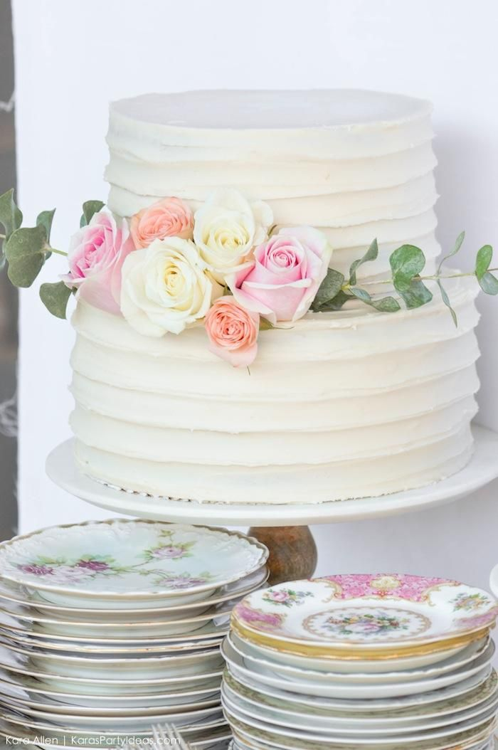 Beautiful Cake At A Floral Chic Baby Blessing Luncheon By Kara Allen
