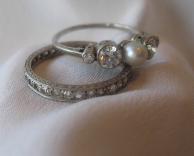 pearl ring wedding set i want it - Pearl Wedding Ring Sets
