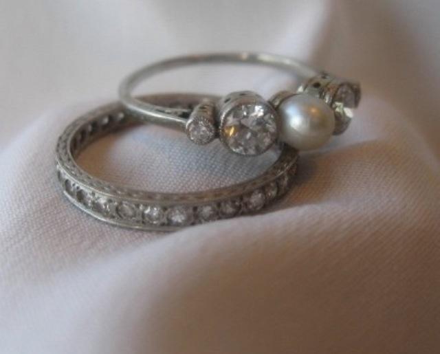 Great Pearl Bridal Set Rings Wedding Gallery