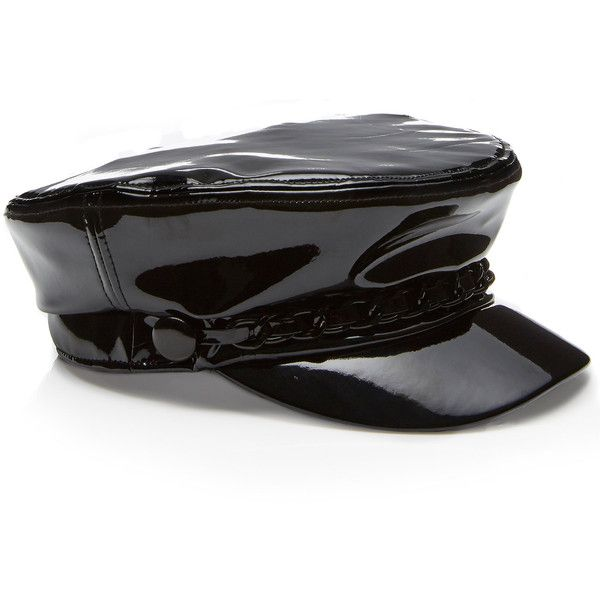 M'O Exclusive Marina Patent Cap | Moda Operandi (1,120 PEN) ❤ liked on Polyvore featuring accessories, hats and cap hats