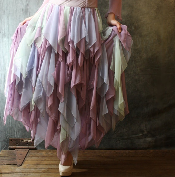 multi sheer hankerchief - Vintage Pixie Fairy Fantasy Dress with Amazing Handkerchief Skirt