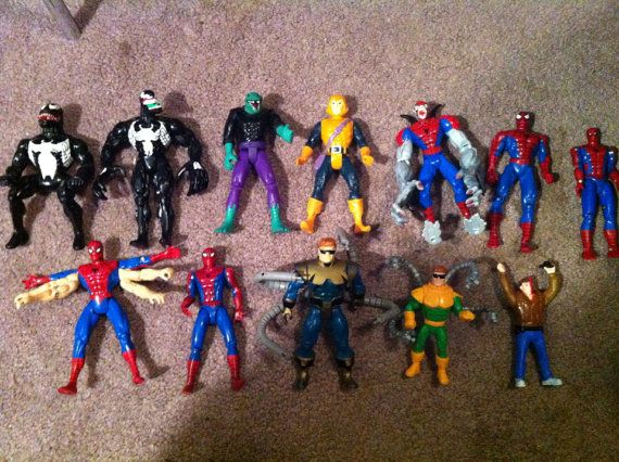 90's Marvel Toy Biz spiderman goblin doc oc venom lizard figure lot on Etsy, $45.00