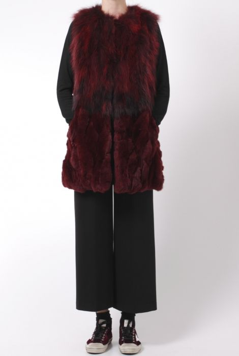 fur gilet bordeaux red bully