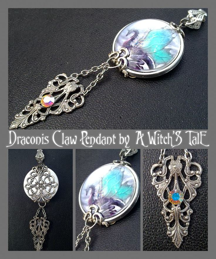 """""""Draconis Claw Pendant"""" by A Witch's Tale Instagram: https://www.instagram.com/awitchstale/   #jewels #draconisclaw #dragon #claw #pendant #awitchstale #gemstone #craft #witch #amulet #wings #accessory #silver #crystal #gothic #dark #necklace #cabochon"""