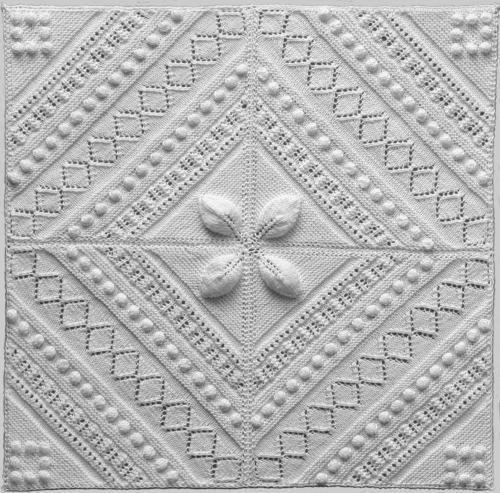 Free Knitted/Knitting Coverlet/Counterpane Square Pattern.