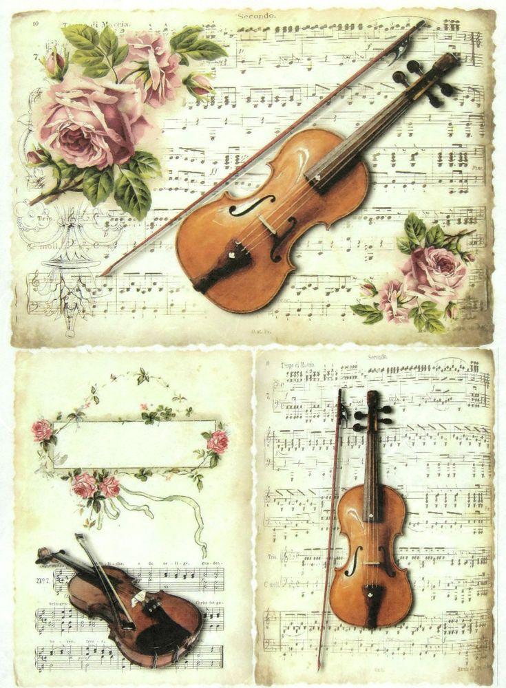 Ricepaper/Decoupage paper,Scrapbooking Sheets/Craft Paper Vintage Violin