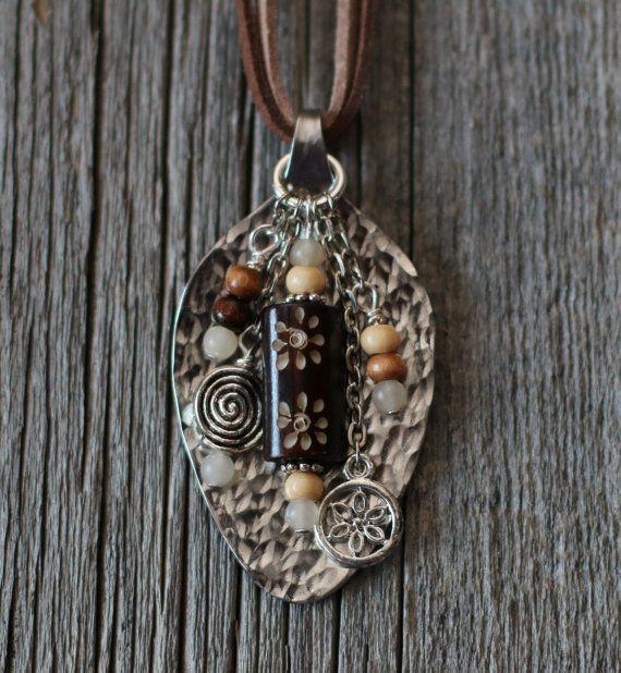 Handmade Hammered Spoon Necklace  Brown by PrairieCanaryRanch