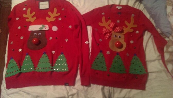 Our Diy couples ugly christmas sweaters-a fun craft me and the hubby did today
