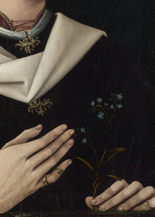Portrait of a Woman of the Hofer Family (detail), Anonymous, ca. 1470