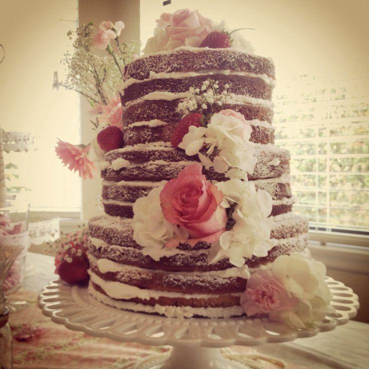 shabby chic bridal shower cakes%0A Vintage Bridal shower   naked   cake Rustic  wedding  roses  strawberries