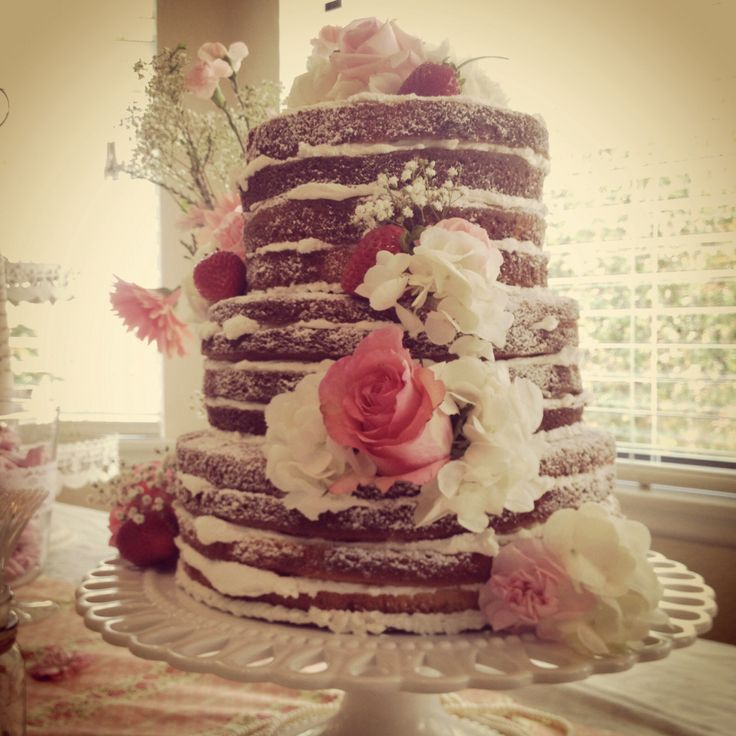 "Vintage Bridal shower ""naked"" cake Rustic, wedding, roses, strawberries"