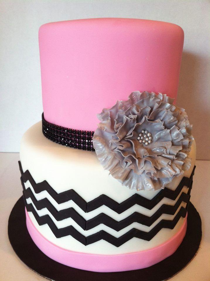 Elegant Pink Black Chevron Cake www.sweetandsassycakes.blogspot.com