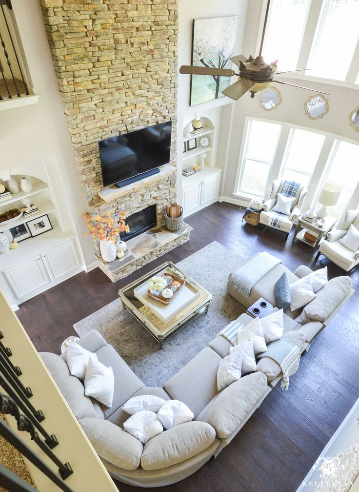 living room in blue%0A      Fall Home Tour