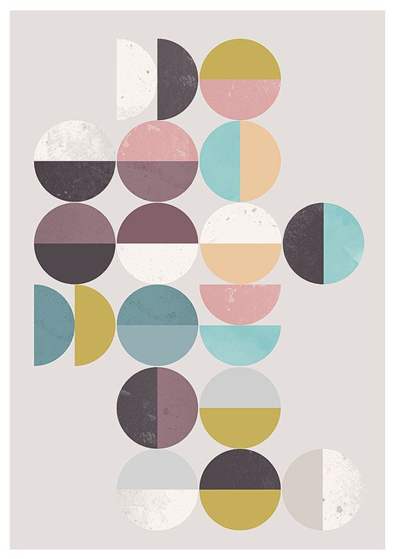 Abstract print Geometric poster Minimalist art Mid by handz