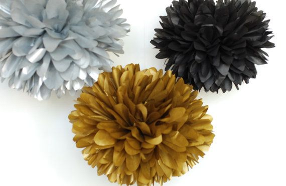 Great Gatsby Theme Party / 5 metallic gold silver black tissue poms / gatsby party ideas / speakeasy party / roaring 20s party decoration