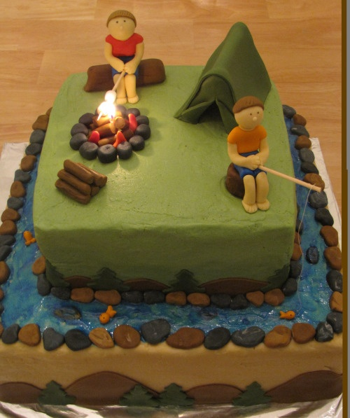 cute camping themed cake