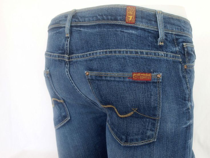 7 Seven for All Mankind Jeans Womens Bell-bottom Straight stretch 7FAM size 26 #7ForAllMankind #StraightLeg