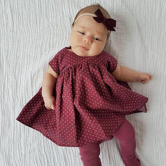 18e3161e5d2e Burgundy Baby Dress / Red Dress / Newborn 6 months 12 mo /   Dresses ...