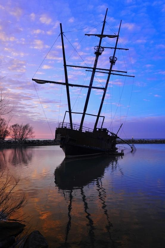 Moored abandoned ship in Jordan Harbour on Lake Ontario, St. Catharines, Ontario, Canada | by Dave Demoe, via 500px