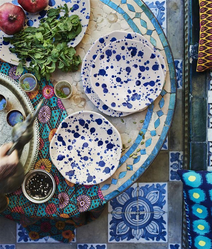 Give your table an artisnal touch with JASSA ceramics. They're sprinkle-glazed by hand so every plate is unique. #IKEAcollections #PLATES #JASSA #TABLEWARE #JASSA