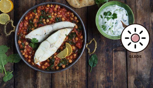 Dette er en eksotisk og ukomplisert oppskrift med kveite, komponert av matblogger Aicha Bouhlou. Chana masala er en indisk rett med kikerter, løk, tomat og deilig krydder.