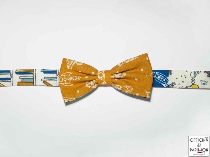 Clementino - Papillon artigianale da bambino Clementino – astronavi e razzi spaziali