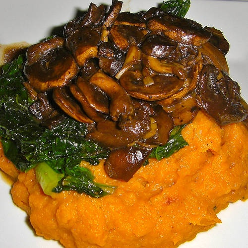 Mushroom Medley on Greens and 'Creamed' Butternut Squash from Opera Singer in the Kitchen | Made Just Right by Earth Balance #vegan #earthbalance