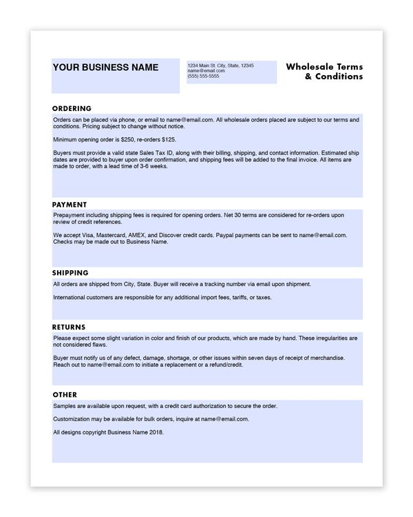 Wholesale Linesheet And Terms Conditions Templates Craft Industry Alliance Craft Industry Wholesale Crafts Crafts With Glass Jars