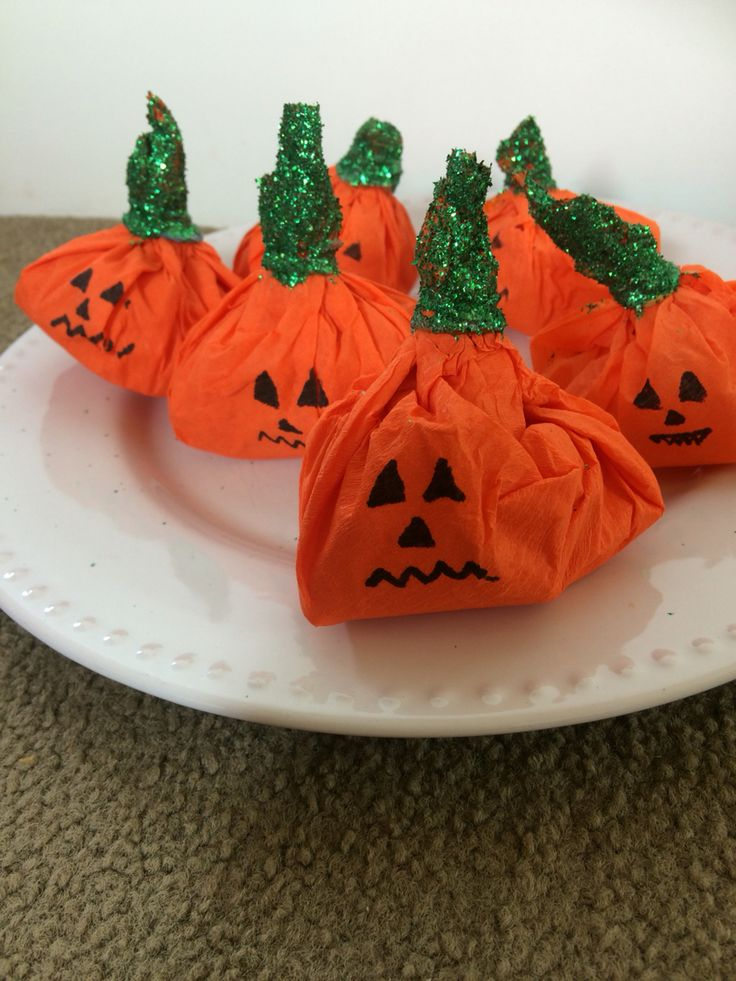 Diy Halloween candy filled pumpkins   Made these with my 6 year olds - was super easy!