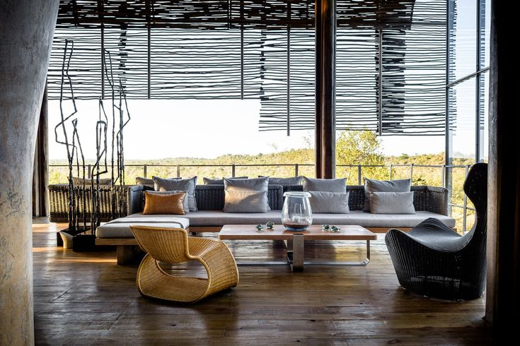 At Singita Lebombo, an all-inclusive luxury lodge in Kruger National Park, you might embark on a game drive before sunrise; after all, the Big Five waits for no one. Thankfully for weary, wind-whipped safari-goers, the lobby serves as a Zen-like refuge, with clean lines and low-slung furniture.