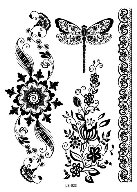 LS623-21-15cm-Big-Tattoo-Sticker-Beauty-Hanna-Female-font-b-Black-b-font-Lace-Bride.jpg (472×661)