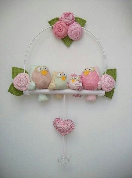 Patchwork birds roses heart wreath mobile